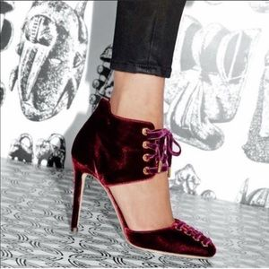 Jimmy Choo Burgundy Velvet Mari Lace Up Pumps